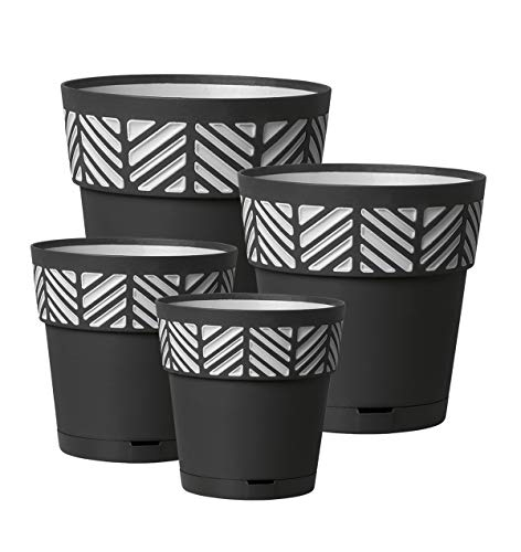 Kreher 4 Stück Pflanztöpfe ORFEO Hochwertiges 3D-Design in leicht Matter Ausführung mit integrierten Wasserspeicher. Mit 4 verschiedenen Durchmesser (Anthrazit)