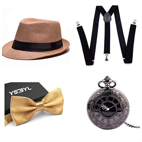 thematys Al Capone Mafia Gangster Hut + Fliege + Hosenträger + Taschenuhr - 20er Jahre Kostüm-Set für Damen & Herren - perfekt für Fasching & Karneval (4) (Für Anzüge Männer Mafia)
