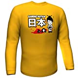 T-Shirt a manica lunga GamersWear - GAMING NATION (Yellow), 100% Cotone - Fashion per Gamer!