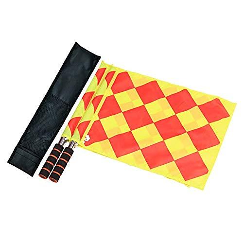 CHUER Schiedsrichter Flagge,Fußball Schiedsrichter Fahnen Linienrichter Fahne mit Schwammgriff Tragbar und Wasserdicht, 34 x 33cm (2 Stücke) -