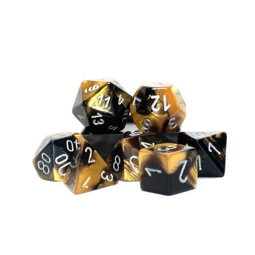 7 Die Set Chessex GEMINI BLACK GOLD Dice NERO ORO Dadi Dado 26451