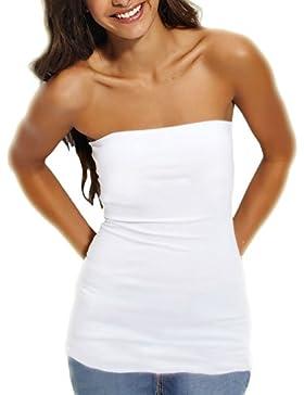 Toocool - Top maglia maglietta donna tube tubo bustino bustier corpetto jersey CC-442