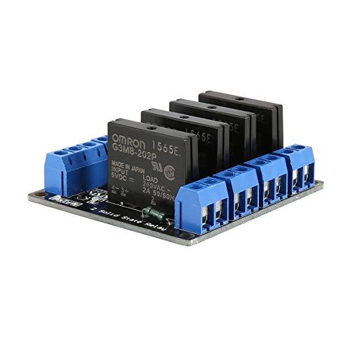 4-Kanal-Solid-State-Relais-Modul-Brett Low-Level-Trigger-SSR-Eingang 5V DC-Ausgang 240V AC 2A Sicherung für Arduino PLC Controller (blau und schwarz) -