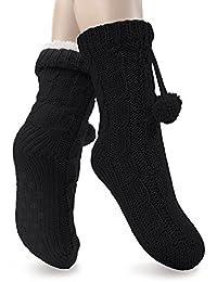 1 Paar Damen Kuschel-Strick-Socken mit Antirutsch-Sohle - Kuschelig weich - Super warm gefüttert - Farben und Größen wählbar