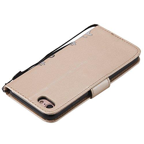 FESELE Coque iPhone 7,Housse iPhone 8,Bling Bling Brillant Scintillant Étui en Cuir avec Diamant Strass Pour iPhone 7,iPhone 8 Coque à Rabat Magnétique Housse Etui de Protection Ultra Slim Mince Anti  Papillon,Or