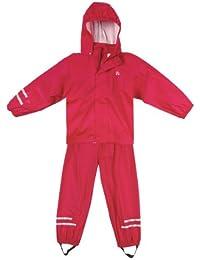 Elka Regenanzug Regenhose + Regenjacke für Kinder, wasser- und winddicht, gestreift oder einfärbig, vielen Farben und Größen 220g/Polyester