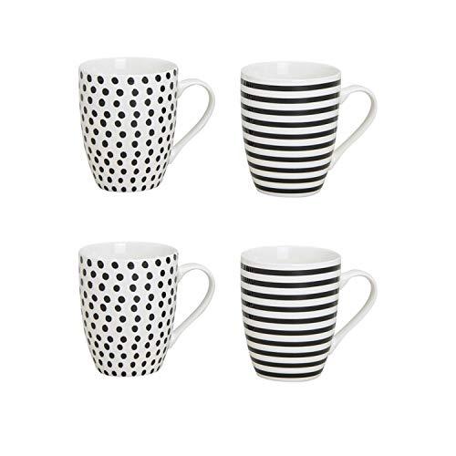 WOMA 4er Kaffeetassen Set aus Porzellan - Modernes Design Schwarz/Weiß gestreift und gepunktet - 4 Porzellan Kaffee Tassen Groß - 270ml, 10cm hoch