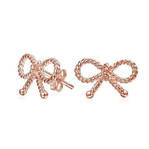 Dünnen Zierlichen Twist Seil Kabel Schleife Ohrstecker Für Damen Für Jugendlich Rose Vergoldet Sterling Silber 925