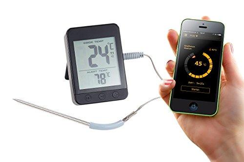 Rosenstein & Söhne Fleischthermometer: Grillthermometer, Bluetooth, App für Android/iOS, 1 Temperatur-Fühler (Bluetooth Grillthermometer mit Apps)