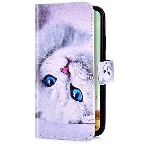 Uposao Kompatibel mit iPhone XS/iPhone X Handyhülle Handy Tasche Schutzhülle Cool Muster Flip Case Brieftasche Klapphülle Leder Hülle Bookstyle Wallet Hülle Cover Kartenfächer,Weiß Katze
