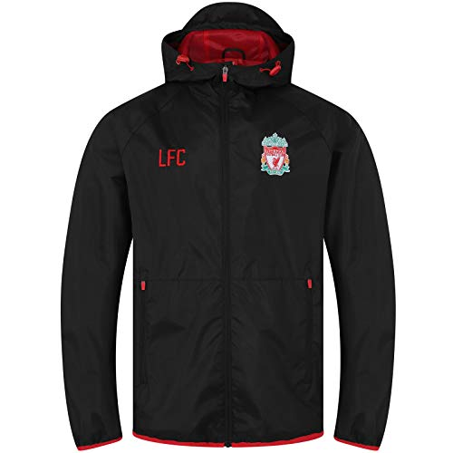 Liverpool FC - Herren Wind- und Regenjacke - Offizielles Merchandise - Schwarz - Kapuze mit Schirm - L