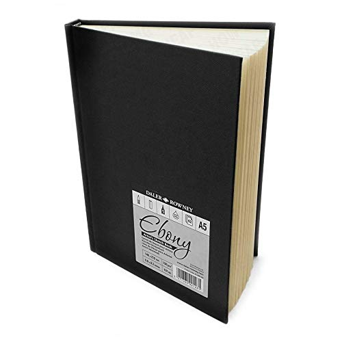 Daler rowney - ebony artist's hardback sketch book - 150gsm - 62 pages - a5 portrait