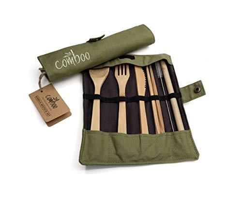 comboo® - Bambus Besteck Set| Reisebesteck | umweltfreundliches Besteckset | Messer, Gabel, Löffel, Stäbchen und Strohhalm| Besteck Holz | Besteck für unterwegs inkl. Tasche | 20 cm (Grün)