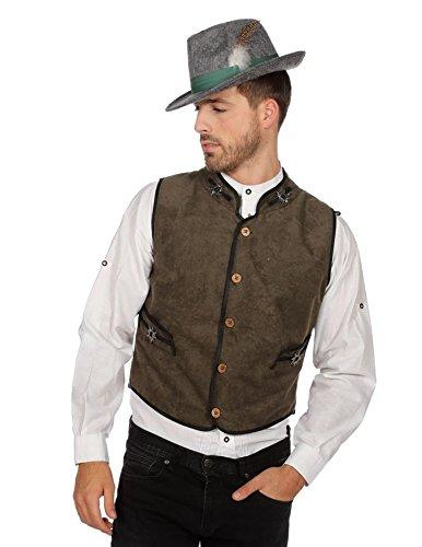 Wiesn Weste Kostüm Herren Wasn München Braun Kostüm Tracht Trachten Braun 60 (Oktoberfest Herren Trachten)