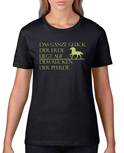 Comedy Shirts - Das ganze Glueck der Erde liegt auf dem Ruecken der Pferde - Damen T-Shirt - Schwarz/Grün Gr. 3XL