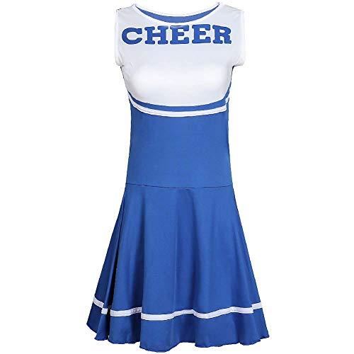 Kostüm Billig Cheerleading - XSH Frauen Cheerleading Uniformen Spiel Rollenspiele Erwachsene Damen Sexy Baby Cheerleading Kostüme,Blau,M