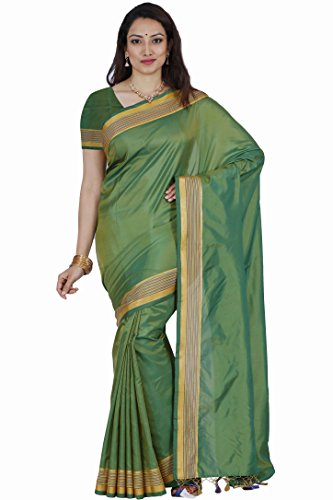 Mimosa By Kupinda Art Silk Saree Kanjivaram Stlye Color:Parrot Green (3350-MLI-01-GR-GLD)  available at amazon for Rs.599
