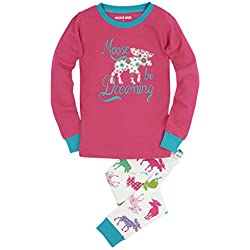 Hatley Little Blue House Girl's Long Sleeve Printed Pyjama Sets, White (Patterned Moose), 10 Years