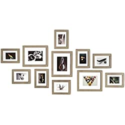 Muzilife Cadre Photo Mural Lot de 11 Cadres Photo Collages de Images Décoration pour Maison et Salon - 8 Pcs 13 x 18 cm, 3 Pcs 20 x 25 cm, MDF (Gris)