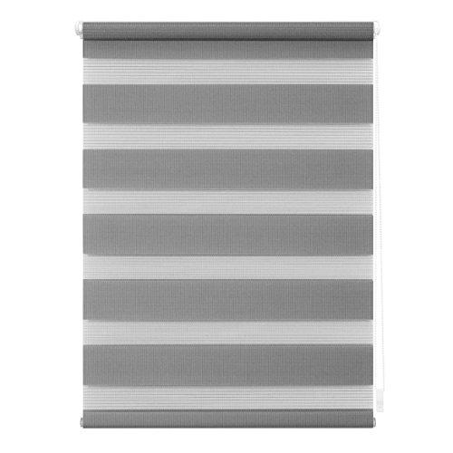 Klemmfix, 95 cm x 150 cm in Grau, Doppelrollo für Fenster & Türen, moderner Sichtschutz, innovative Kombination aus Rollo & Jalousie ()