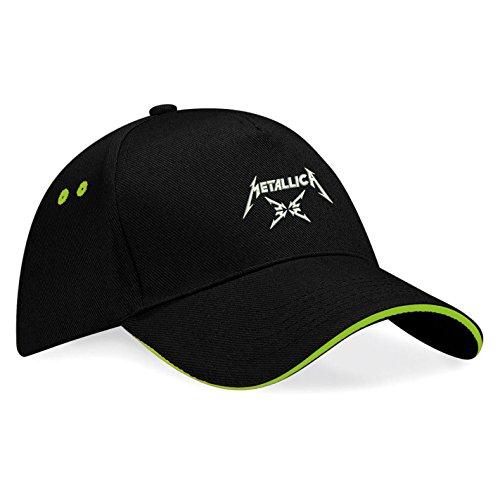 METALLICA Musik Rock Rockmusik Bestickte Logo Mütze Baseball Cap - k125 (Sw-Grün) (Baseball-rock)
