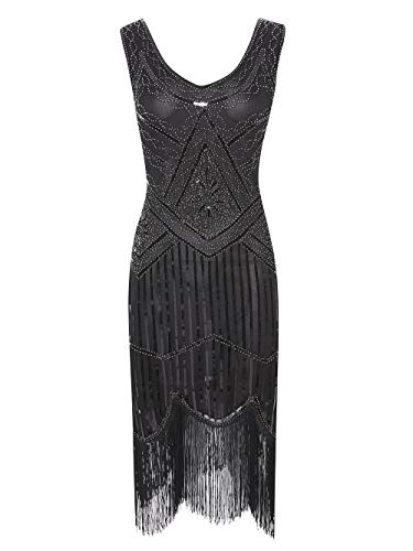 Viloree 1920 Pailletten verschönert Quasten Falten Flapper Damen Mini Kleid Party Gastby Motto Schwarz Silber - Schwarz Und Silber Pailletten Flapper Kostüm