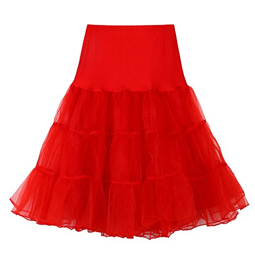 Petticoat Tutu-stil (POPLY Damen 1950 Petticoat Reifrock Unterrock Petticoat Underskirt Reisen Stil Tutu Crinoline für Rockabilly Kleid Karneval Kostüm Kleid Hohe Qualität Faschingskostüme)