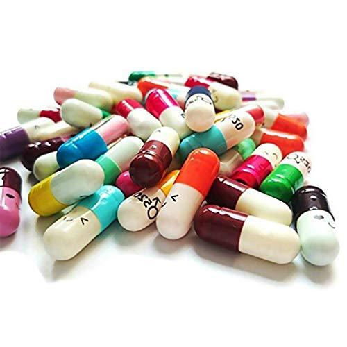 Ogquaton Píldoras lindas Cápsulas Cartas de colores Cápsulas Botellas de mensaje mini Deseando cápsula para el amor o la amistad Color aleatorio 50 piezas