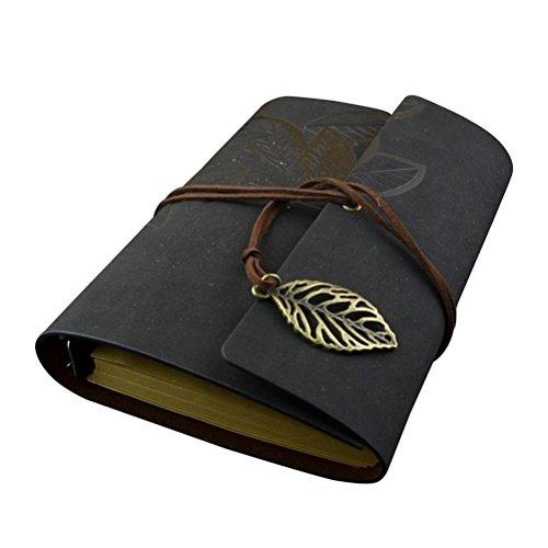 Preisvergleich Produktbild Tinksky PU Leder Cover Notebook leeres Notizbuch Notizblock Travel Journal Tagebuch Jotte - Größe L (schwarz)