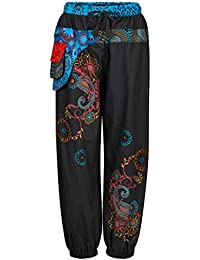8787dd5b645d6c Wicked Dragon Embroidered Long Trousers with Attached Purse up to Plus Size  Black
