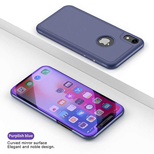 iPhone XS Max Slip Leder iPhone XS Max Flip Cover Luxus Clear View Smart Electroplating Mirror Slim Flip Case Cover for iPhone XS Max 16,5 Zoll Stand Flip Cover, Navy -