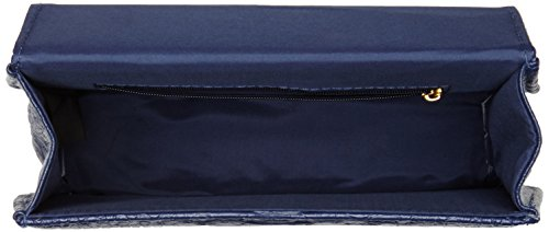 SwankySwansPiper Snakeskin Pu Leather Clutch Bags Navy - Sacchetto donna Blue (Navy blue)