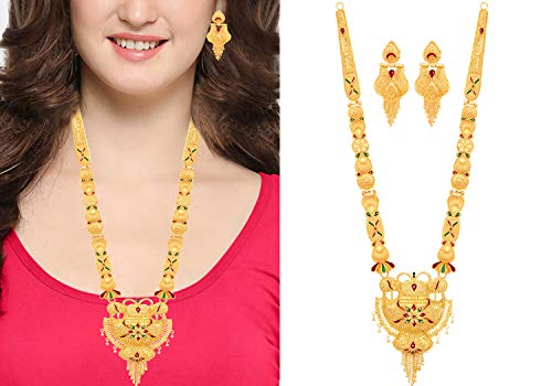 Mansiyaorange One Gram Gold Forming Work Long Haram Pendant Multi Color Golden Jewellery Necklace/Juelry/Pendant Set/Pndnt Set/jwelry Set Jewellery for Women(10 in Long 2 in Wide)