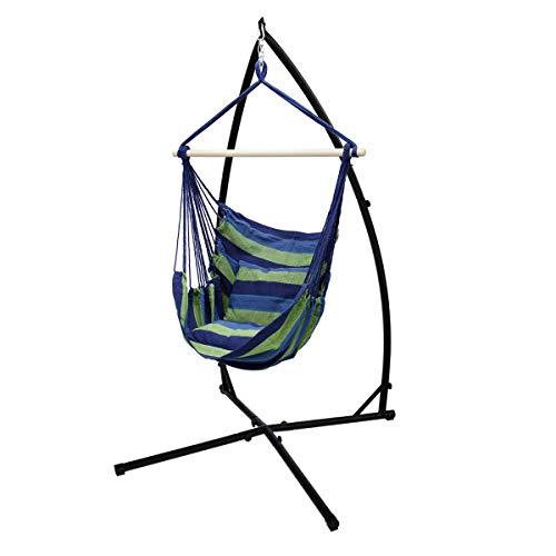 ECD Germany Hängesessel mit Gestell 210 cm - Hängestuhl mit 2 Kissen Blau/Grün bis 120 kg - Hängesesselgestell Gestell aus Metal - für Garten oder Terrasse