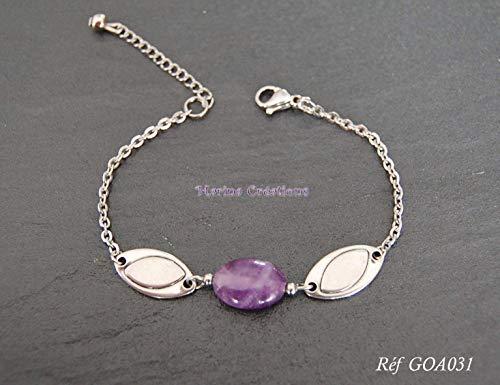 Armband/Bordstein armband Amethyst Edelstahl, edles Schmuckstück, dezent, Geschenkidee, Länge Ihrer Wahl