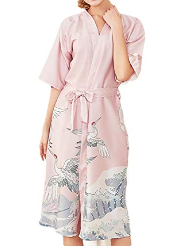 CuteRose Women's Charmeuse Lace Patchwork Pajamas Casual Maxi Spa Robe 5 M Terry Zip Front Jacket