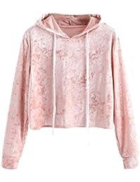 2735f78403 Sweatshirt damen Kolylong® Frauen Elegant Samt Sweatshirt mit Kapuze Herbst  Winter Locker Langarm Shirts Mode Bauchfrei Pulli Sport…