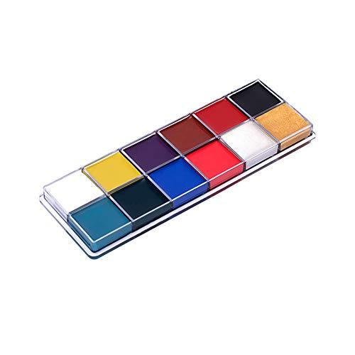 Pannow Gesichtsmalarbeit 12 Farben Gesichtsfarbe Palette ungiftig Professionelle Palette waschbar sicher für Halloween Party, Urlaub Make-up Körper, Gesicht Malset für Kinder