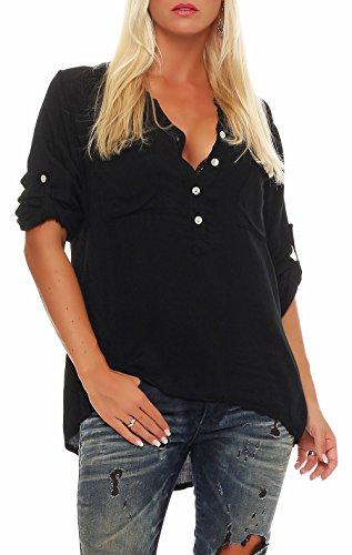 Malito Damen Bluse mit Knopfleiste | Tunika mit ¾ Armen | Blusenshirt auch Langarm tragbar | Elegant - Shirt 9015 (schwarz)