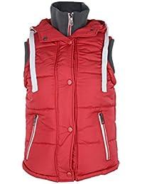 Señoras con capucha chaleco acolchado/chaleco con Contrast Rib para cuello y sisa – estilo