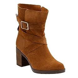 Clarks Malvet Doris Womens Ankle Boots Tan Suede 9. 5