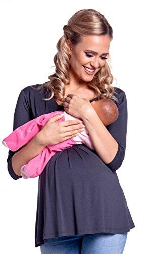 Happy Mama. Damen Umstandsmoden Top Stillshirt Lagendesign Empire-Taille. 945p Blau Grau
