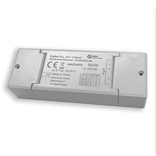 ZIGBEE 4 Kanal Dimmaktor 12-24V / 144 Watt - kompatibel u.A. mit Osram Lightify®, TRÅDFRI® - ZLL - ZHA Standard - von INNOVATE®