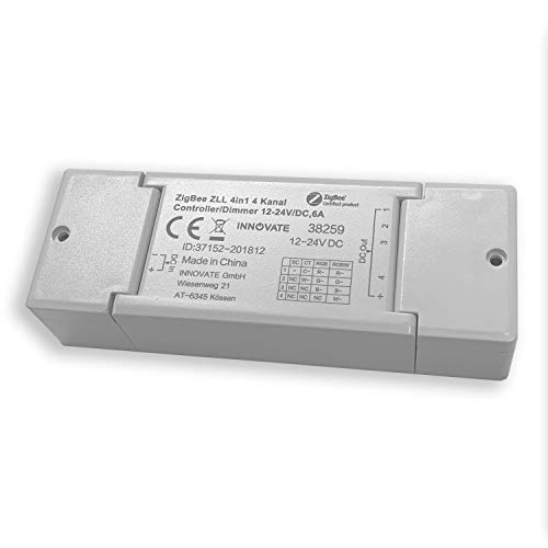 Innovate® ZIGBEE 4-Channel Dimmer Actuator 12-24 V / 144 Watt Compatible with Osram Lightify®, TRÅDFRI® ZLL ZHA Standard