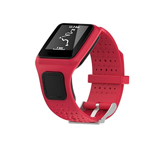 JANLY Remplacement silicagel Soft Band Strap pour TomTom Runner cardio GPS HR Watch (Rouge)