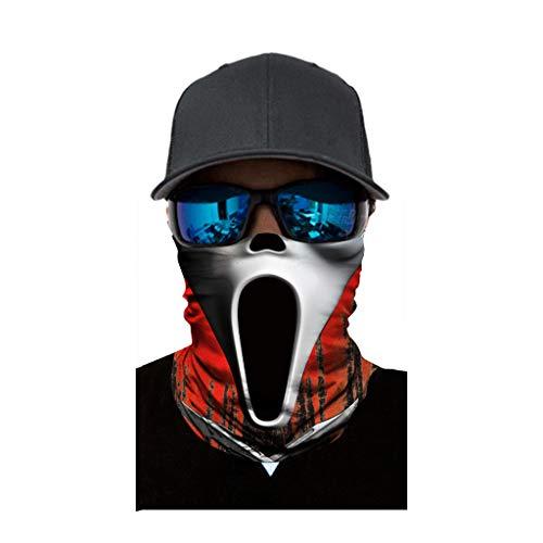 cinnamou Multiunktionstuch Maske Schal Kälteschutz Gesichtsmaske Fishing Totenkopf Schal Skull Bandana Gesichtsmaske Halstuch Ski Motorrad Paintball Halloween Maske (25CM X 50CM, J)