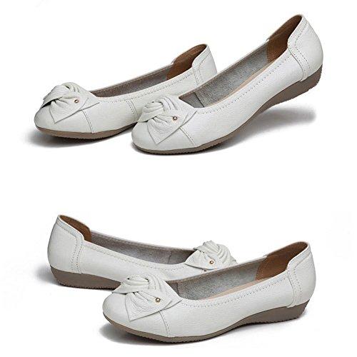 Minetom Femme Casual Bowknot Couleur Unie Ballet Plat Chaussures de Conduite Loafer Fond Mou Peas Mocassins D'entraînement Blanc