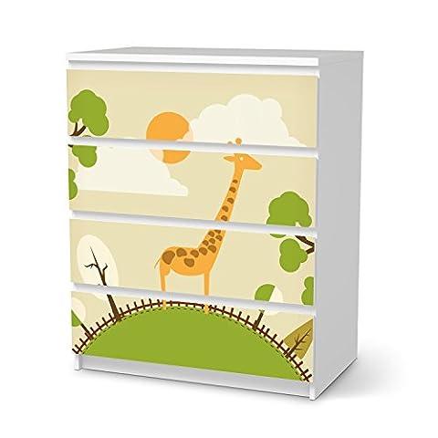 Möbel-Folie IKEA Malm 4 Schubladen Aufkleber Design Mountain Giraffe blasenfrei