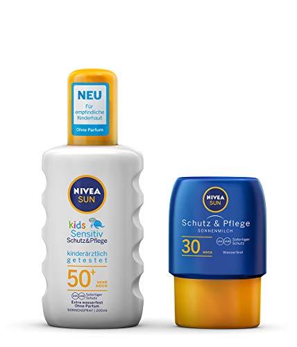 NIVEA SUN Kids Sensitiv Sonnenspray + gratis Reisegröße Sonnenmilch (1 x 200 ml + 1 x 50ml), Sonnenspray mit LSF 50+, Sonnenlotion für empfindliche Kinderhaut