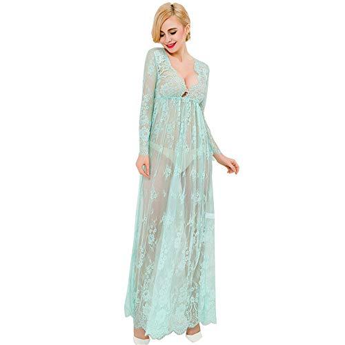 HJG Dessous für Frauen Sexy Durchsichtig Nachtwäsche Lange Wimpern Spitze Kimono Babydoll Set, Mutterschaft Schwangere Robe Plus Size Kleid Kimono-kleid-set